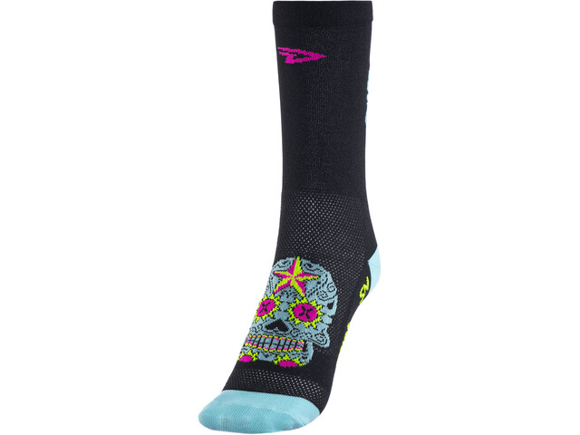 "DeFeet Aireator 5"" Strømper, sugar skull/black/lightblue"